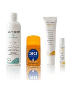 Thiospot Ultimate Product Set Terproline Gentle Cleansing Gel, Sunwards, Thiospot Intensive, Thiospot Skin Roller
